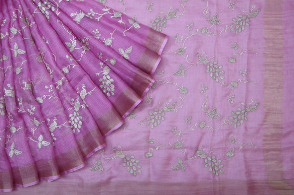 Magenta Pink Kota Silk Saree with Embroidered Floral Vines