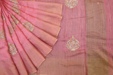 Light Pink Handloom Tussar Embroidery Saree