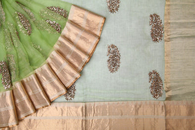 Parrot Green Organza Embroidery Designer Saree