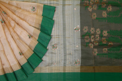 Cream Handloom Tussar Embroidery Saree