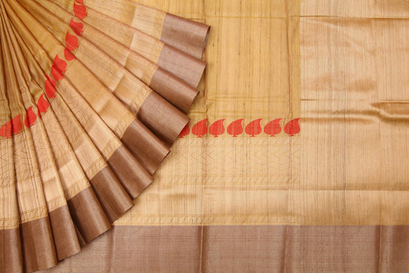 Golden Tussar Banarasi SIlk Handloom Saree