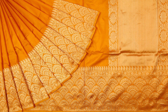 Mustard Yellow Handloom Banarasi Silk Saree