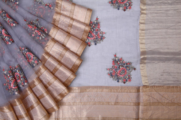 cement Grey Organza Embroidery Designer Saree