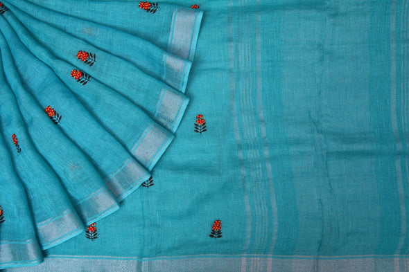Sky Blue Handloom Linen Embroidery Saree