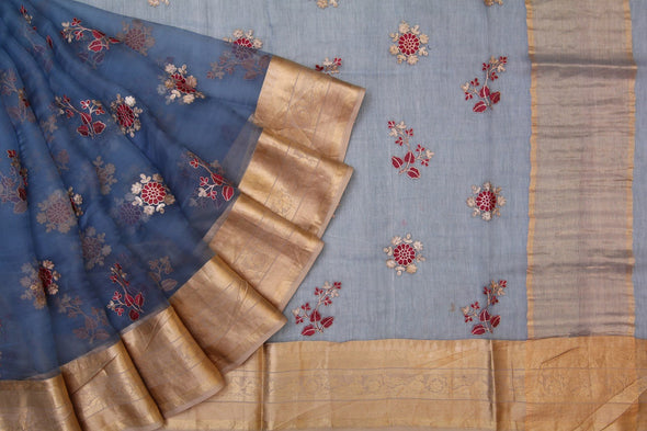 Vivacious Blue Organza Embroidered Designer Saree