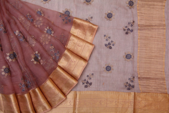 Peach Organza Embroidered Designer Saree