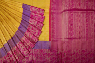 Yellow Handloom Kanchipuram Silk Saree