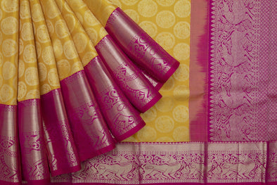 Turmeric Yellow Kanchipuram Silk Handloom Saree With Peacock And Yaali Motifs