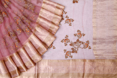 Peach Organza Embroidery Designer Saree