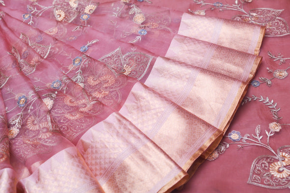 Pretty Organza Embroidery Designer Saree In Pink