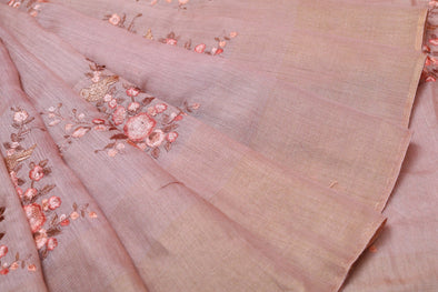 Peach Tussar Embroidery Handloom Saree