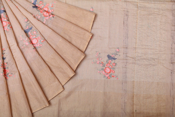 Cream Tussar Embroidery Handloom Saree