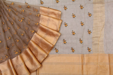 Sand Brown Organza Embroidered Designer Saree