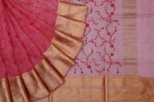 Pretty Pink Organza Embroidered Floral Jaal Designer Saree