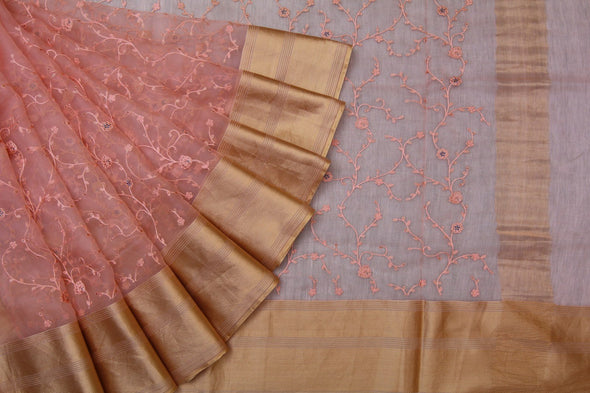 Peachy Orange Organza Floral Jaal Embroidered Designer Saree