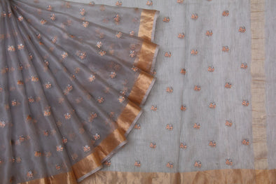 Alluring Grey Organza Embroidered Saree
