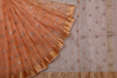 Light Orange Organza Embroidered Saree