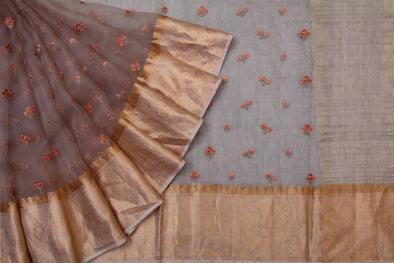 Brown Organza Embroidered floral butta saree