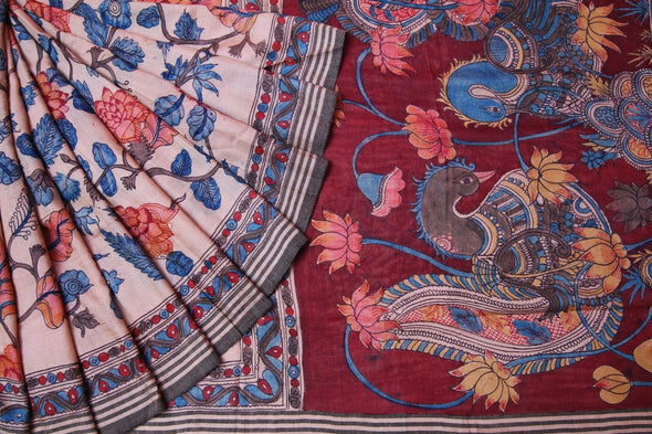 Cream Kalamkari Saree With Hand Painted Florals and Peacocks