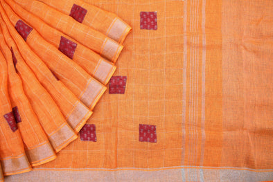 Orange Handloom Linen Patch work Saree