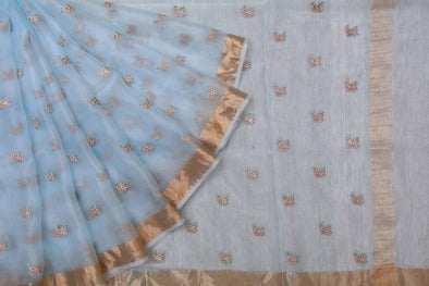 Light Blue Organza Embroidered Saree