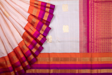 Cream Handloom Kanchipuram Silk Saree