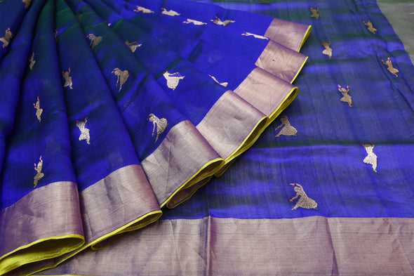 Royal Blue Pranpur Silk Handloom Saree with Gold Dancing Woman Buttas