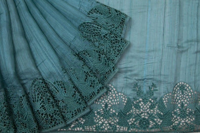 Teal Tussar Handloom Saree With Cut Work Border