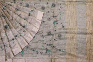 Silver Handloom Tissue Embroidery Saree