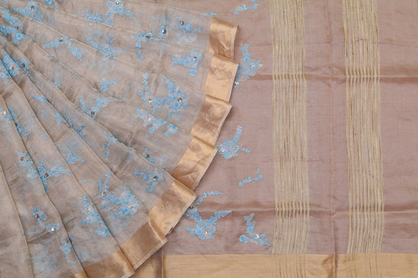 Light Gold Tissue Embroidered Saree with Blue Flowers