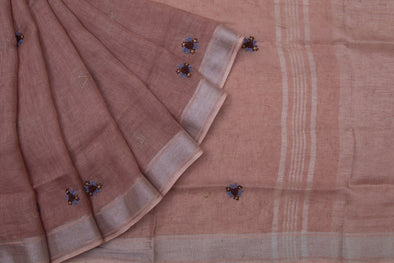 Dusky Pink Linen Floral Embroidery Handloom Saree