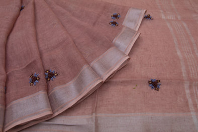 Red Linen Floral Embroidery Handloom Saree
