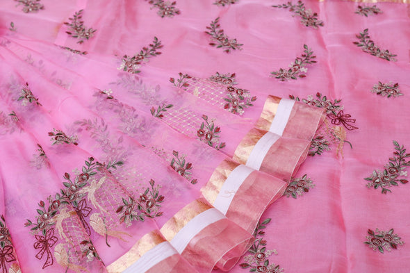 Princess Pink Organza Embroidery Designer Saree