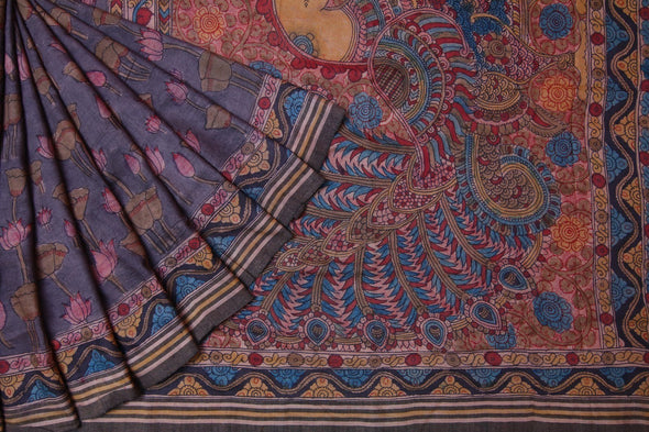 Grey Kalamkari Saree With Hand Painted Florals and Peacocks
