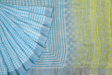 Sky Blue Handloom Linen Printed Saree