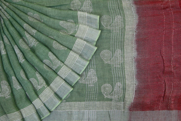 Green Handloom Linen Printed Saree
