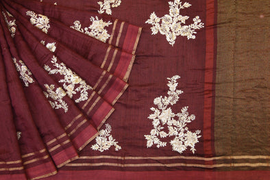 Brown Handloom Tussar Embroidery Saree