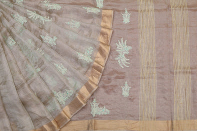Light Gold Tissue Embroidered Saree with Green Blossoms