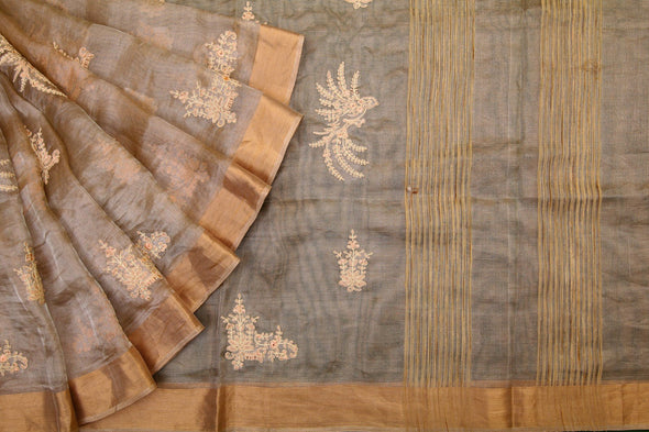 Golden Handloom Tissue Embroidery Saree
