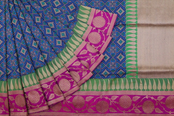 Hues Of Blue Banarasi Silk Handloom Saree With Geometric Patterns