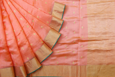 Peach Pranpur Silk Handloom Saree With Gold Buttas