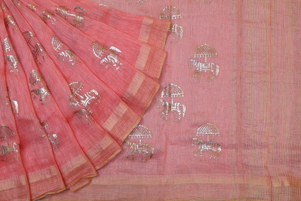 Horses And Umbrellas Foil Print Linen Saree in Peachy Pink