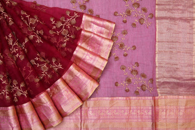 Maroon Organza Embroidered Saree