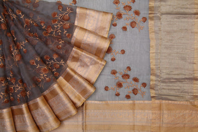 Grey Organza Embroidered Saree
