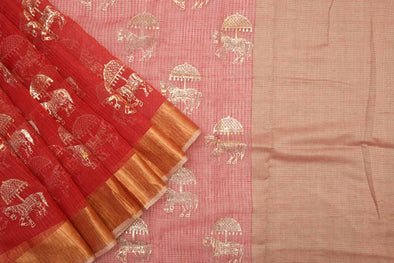 Plum Red Kora Organza Saree with Foil Printed Horses