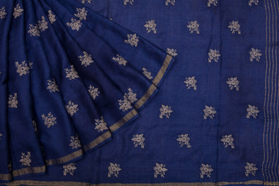 Cobolt Blue Tussar Silk Handloom Saree with Floral Buttas