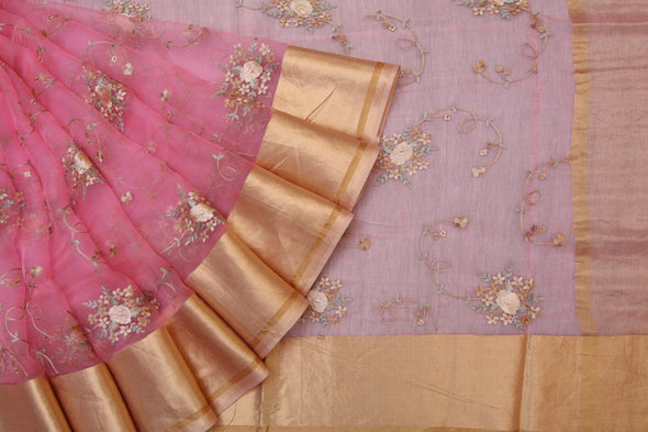 Charming Pink Organza Embroidered Designer Saree