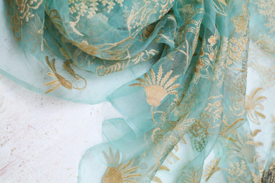 Sea Green Organza Floral Embroidered Unstitched Fabric