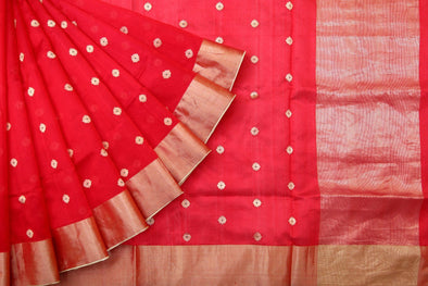 Classic Red Pranpur Silk Handloom Saree With Gold Buttas