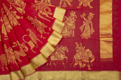 Khadi Jamdhani Handloom Butta Saree in Scralet Red